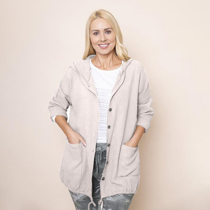Crinkle Cotton Hoody Jacket (Beige)
