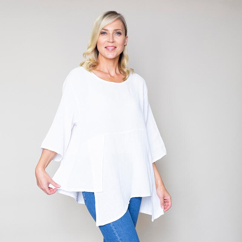 Asymmetric Linen Top White