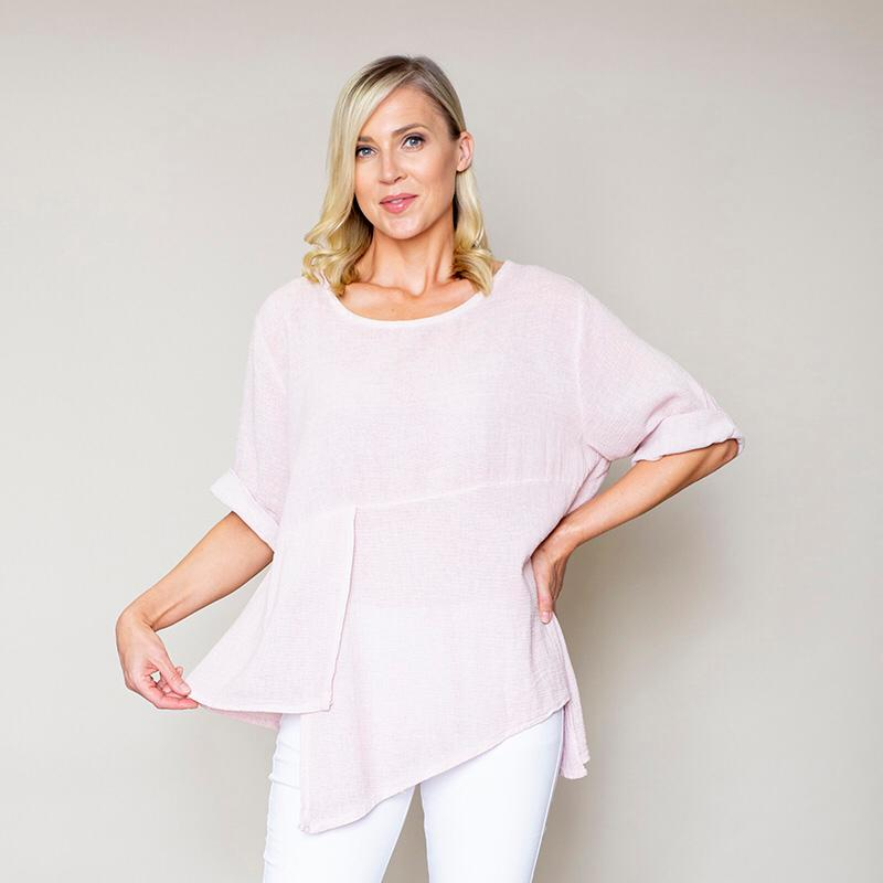 Asymmetric Linen Top Pink