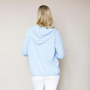 Hoody Drawstring Top Blue