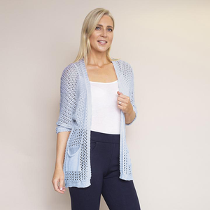 Honeycomb Pocket Cardi (Blue)