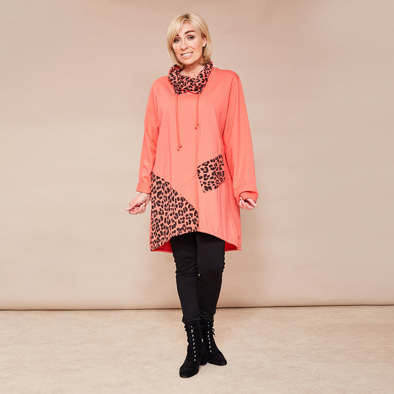 Natalie Jersey Tunic (Coral)