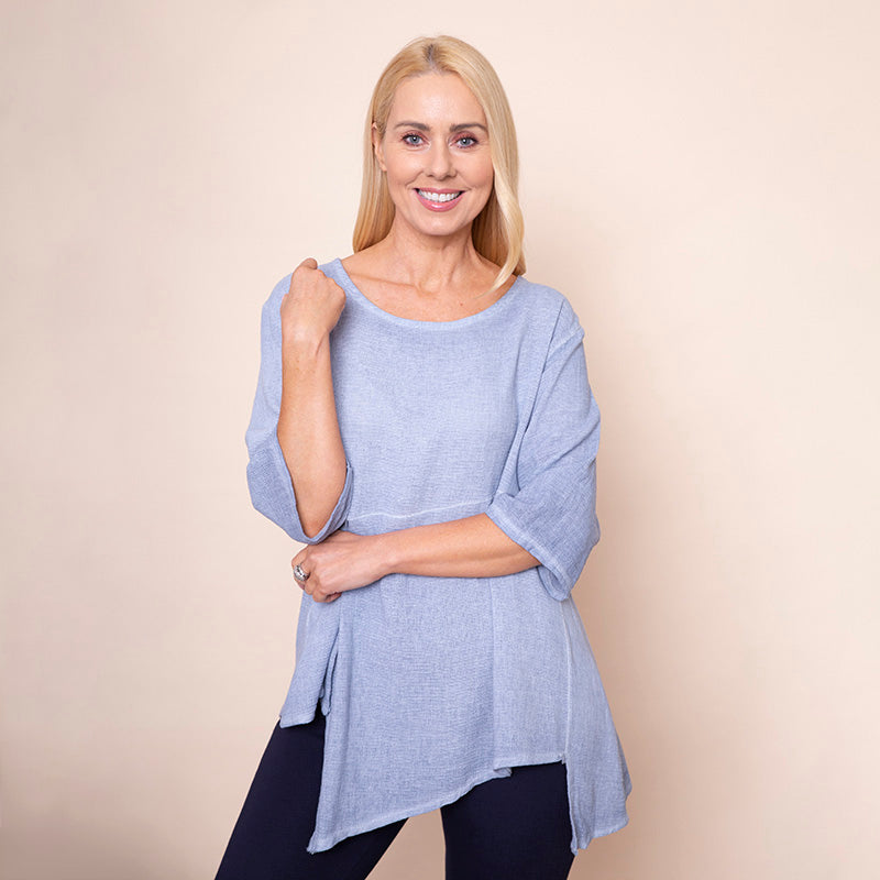 Asymmetric Linen Top Blue