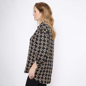 Back Pleat Gold Print Satin Shirt