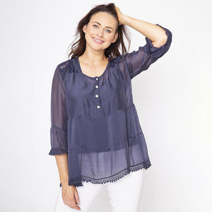 Bell Sleeve Silk Lace Top