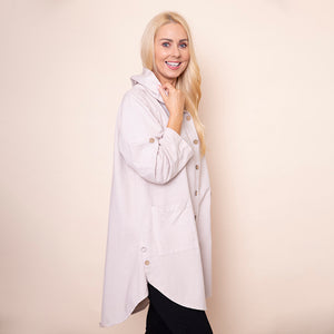 Button Sleeve Hoody Jersey Jacket (Beige)