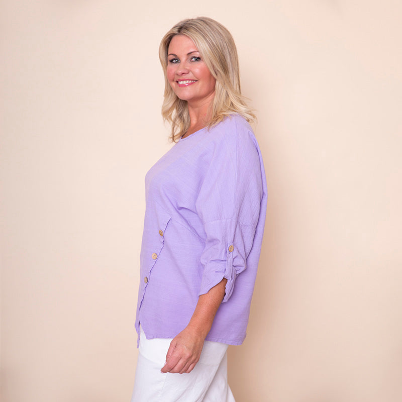 Button Sleeve Linen Top