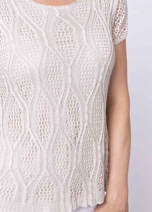 Cap Sleeve Cable Lace Knit Top