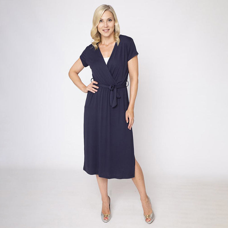 Cap Sleeve Jersey Wrap Dress