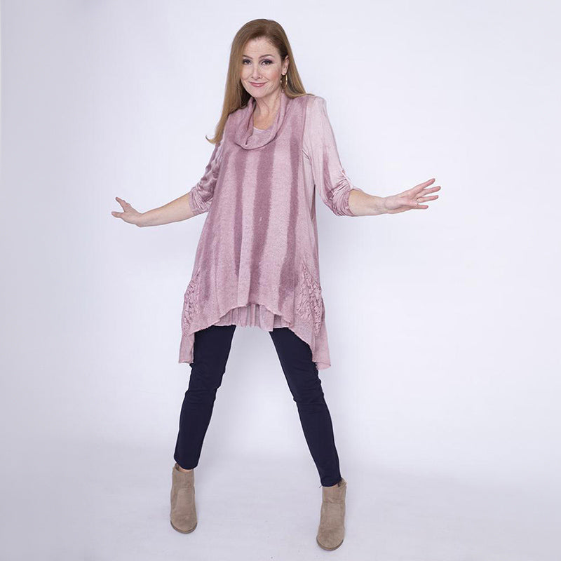 Cowl Neck Fine Knit Pocket Tunic