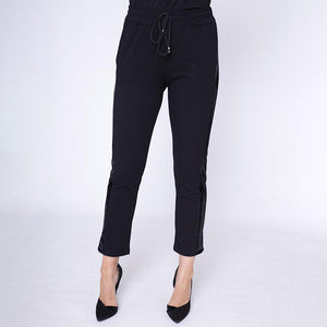 Drawstring Leather Side Trouser