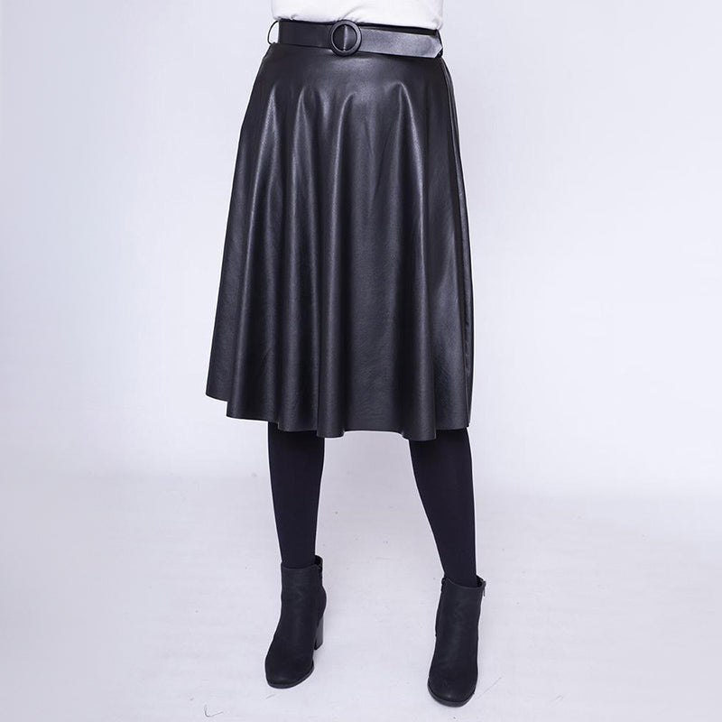 Faux Leather Stretch Waist Skirt