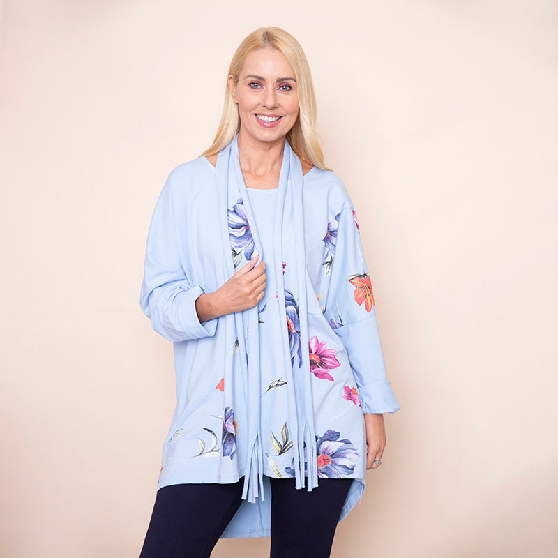Floral Jersey Top & Scarf