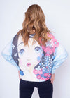 Girl Face Print Fine Knit Jumper