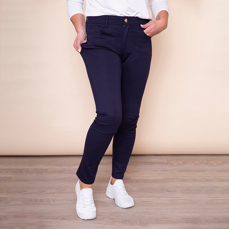 Heart Bow Stud Pocket Trouser (Navy)