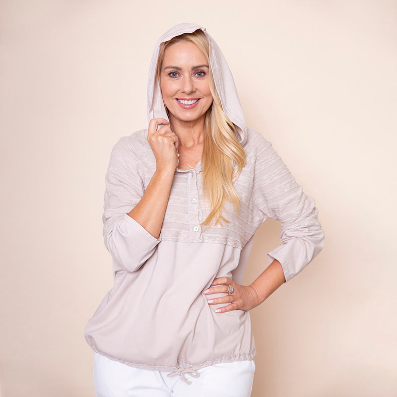 Hoody Drawstring Top Beige