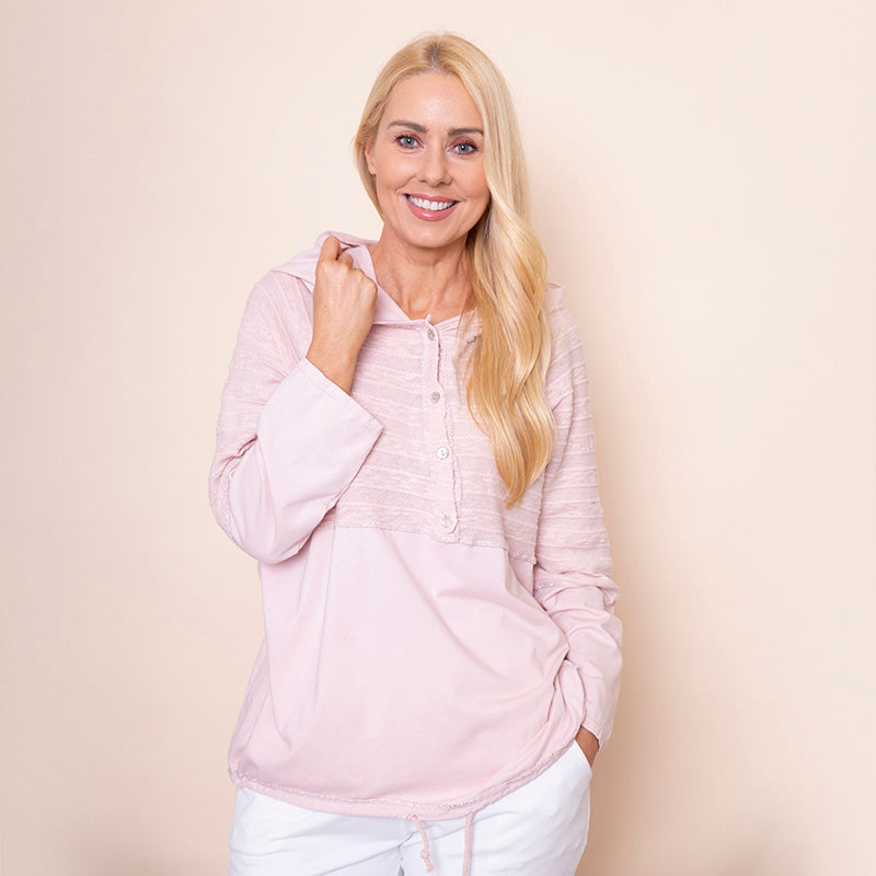 Hoody Drawstring Top Pink