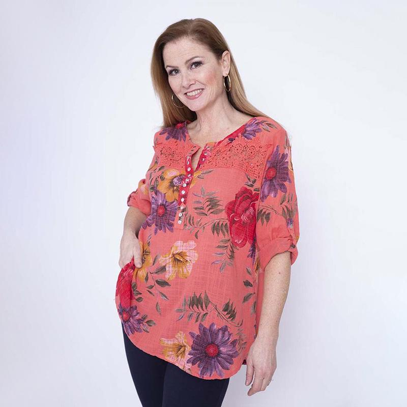 Lace Floral Stud Button Top