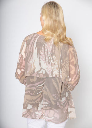 Layered Silk Print Top