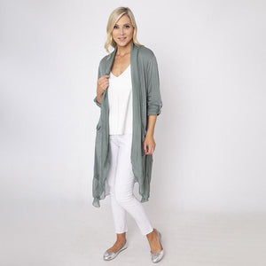 Long Button Sleeve Silk Cardi