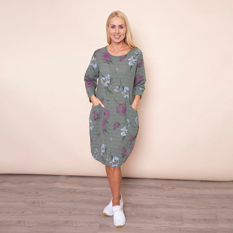 Long Sleeve Floral Pocket Dress