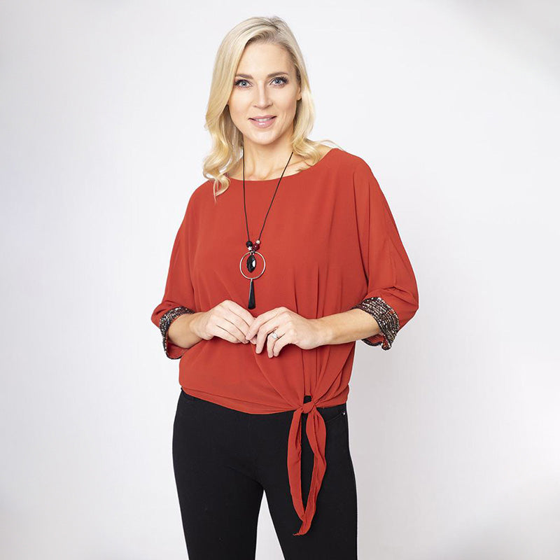 Side Tie Chiffon Top and Necklace