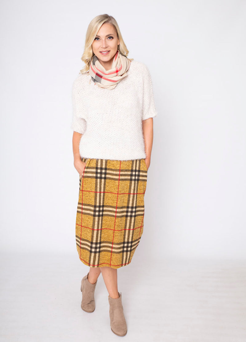 Stretch Waist Jersey Tartan Skirt