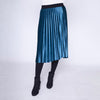 Stretch Waist Pleat Velvet Skirt