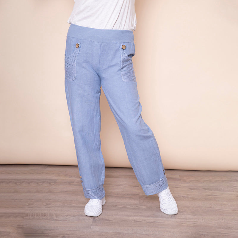 Stretch Waist Pocket Linen Trouser