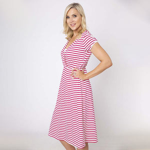 Stripe Cap Sleeve Cross Over Dress