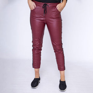 Stud Crinkle Faux Leather Jegging