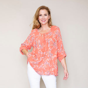 Chloe Flower Cotton Top (Coral)