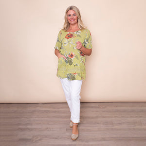 Two Pocket Lace Linen Top