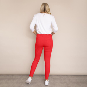 Kylie Cotton Trousers (Red)