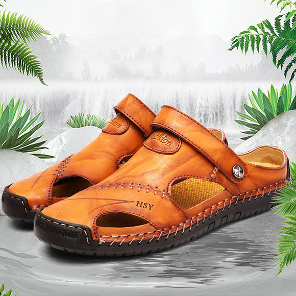 Hizada New Summer Men's Handmade  Soft Outdoor Closed Toe Leather Sandals