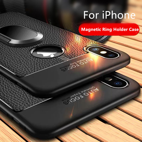 New Luxury Litchi Silicone Magnetic Car Holder Case For iPhone X/XR/XS/XS Max 8 7 6S 6/Plus With FREE Strap