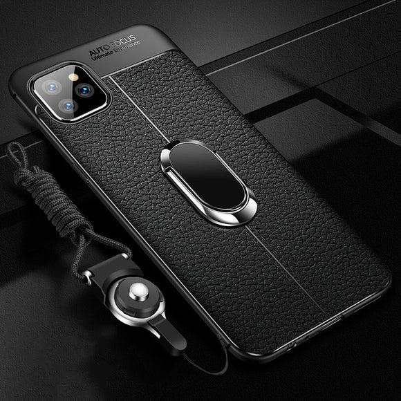 Luxury Ultra Thin Soft Silicon Shockproof Armor Magnetic Ring Holder Case For iPhone 11 Pro Max X XR XS MAX 8 7 6S 6/Plus With FREE Strap
