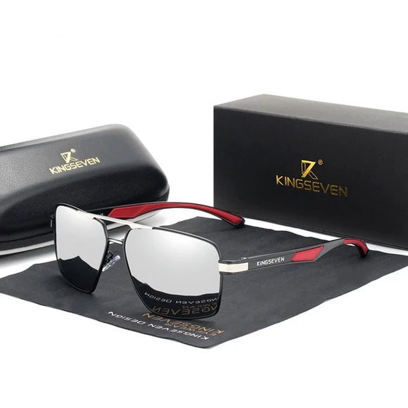 Hizada Aluminum Men's Polarized Lens Temples Coating Mirror Sun Glasses