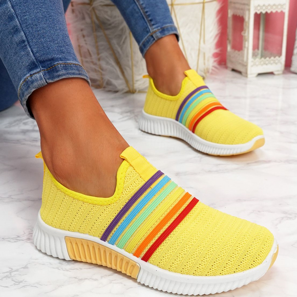 Fashion Women's Color Block Fly-Woven Fabric Sneakers