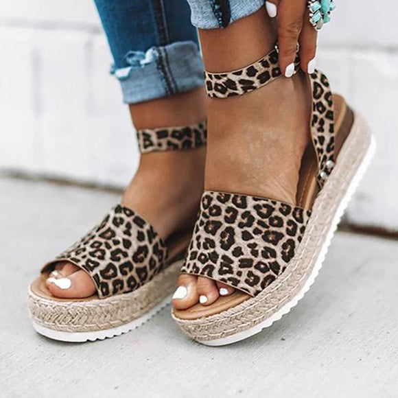 Shoes - Leopard Espadrilles Platform Wedge Buckle Open Toe Sandals