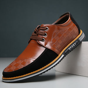 Hizada New Style Men's Soft Comfortable Leather Casual Shoes
