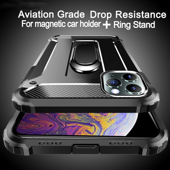 Hizada Shockproof Armor PC + TPU Magnetic Ring Holder Case For iPhone 11/Pro/Max X XR XS MAX 8 7 6S 6/Plus