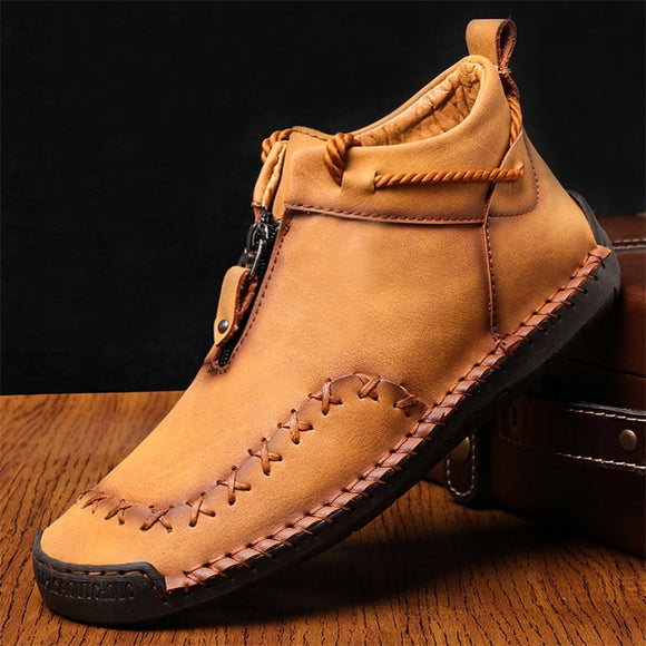 Hizada Fashion Men's Soft Comfortable Slip On Casual Leather Boots