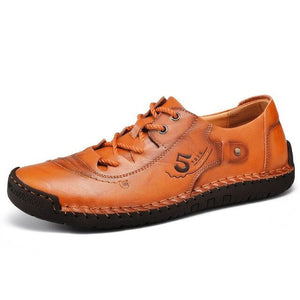 Hizada Vintage Style Men's Comfort Soft Leather Lace Up Casual Shoes