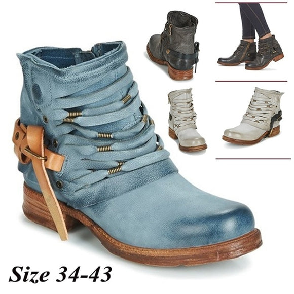 Women's Fashion Buckle Hollow Side Zipper Ankle Boots