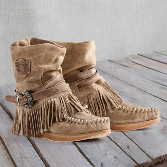 Women's Casual Flat Suede Fringe Round Toe Retro Booties