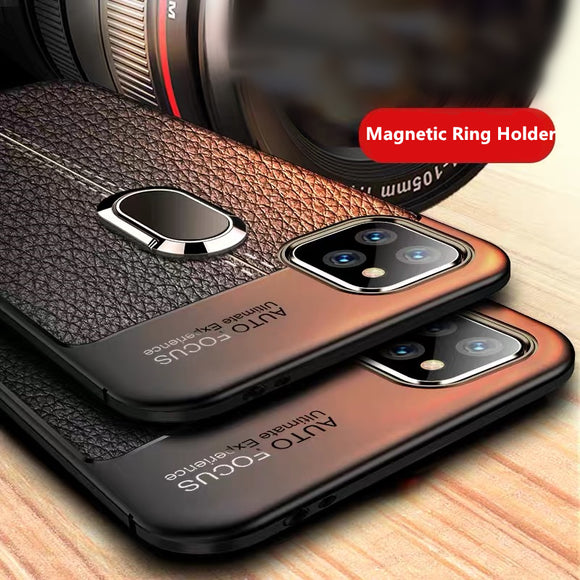 Ultra Slim Soft Silicon Shockproof Armor Magnetic Ring Holder Case For iPhone 11 Pro Max X XR XS MAX 8 7 6S 6/Plus With FREE Strap
