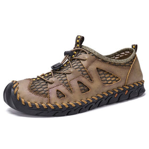 Hizada Men Outdoor Breathable Mesh Splicing Slip Resistant Lace Up Casual Shoes
