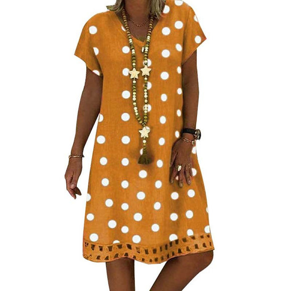 Women Midi V-Neck Short Sleeve Hollow Polka Dot Summer Plus Size Dress