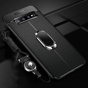 Phone Case - Luxury Litchi Silicone Magnetic Car Holder Case For Samsung S10/Plus/E Note 9/8 S9 S8/Plus S7/Edge With FREE Strap